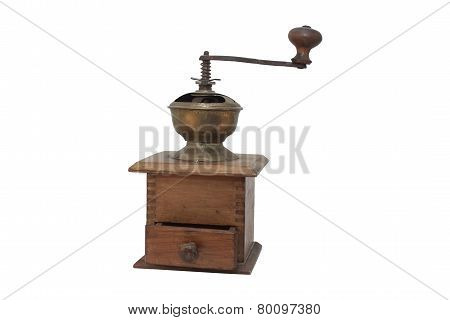Old wooden coffee grinder isolated on white background