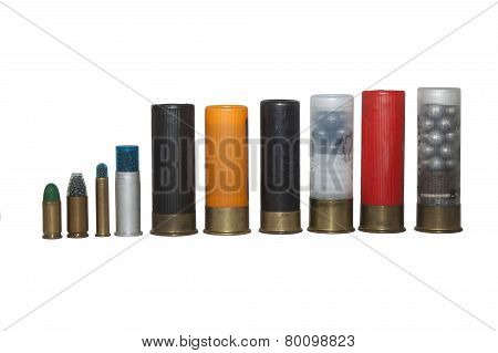 shotgun shells, various types and caliber, isolated on white background