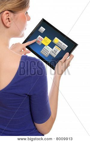 Woman Holding A Touchpad Pc And Uses The Little Widget Programms