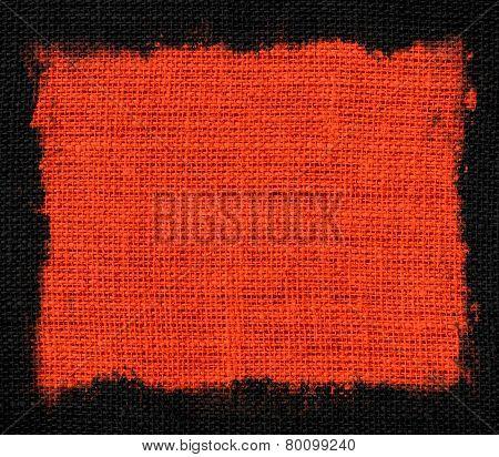 orange burlap jute fabric canvas background with black frame