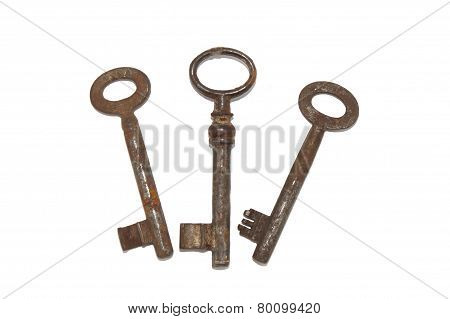 Three rusty old key, isolated on white background