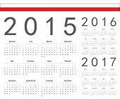 Постер, плакат: Set Of Polish 2015 2016 2017 Year Vector Calendars