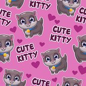 picture of kitty  - Seamless pattern with cute cartoon kitty on the pink background - JPG