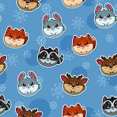 foto of chibi  - Seamless pattern with cute round animals and snow - JPG