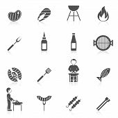 stock photo of grilled sausage  - Bbq grill equipment icon black set with skewer ketchup sauce isolated vector illustration - JPG