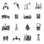 foto of dispenser  - Oil industry black icons set with worker gasoline dispenser drilling plant isolated vector illustration - JPG