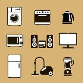 stock photo of household  - Household Appliances Icons with stereo  washing machine   fridge kettle vacuum cleaner and stove - JPG