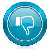 stock photo of dislike  - dislike blue icon thumb down sign  - JPG