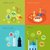 picture of arabic  - Arabic culture design concept set with hospitality clothes and ramadan flat icons set isolated vector illustration - JPG