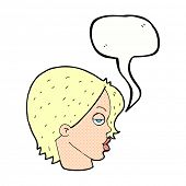 stock photo of raised-eyebrow  - cartoon woman raising eyebrow with speech bubble - JPG