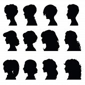 picture of face painting  - Set of silhouettes of profiles women for your design - JPG