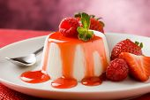 pic of panna  - photo of italian panna cotta dessert with strawberry sirup and mint leaf - JPG