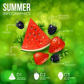picture of blackberries  - Abstract summer infographics poster with watermelon - JPG