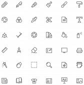image of glyphs  - Set of the simple graphic design related glyphs - JPG