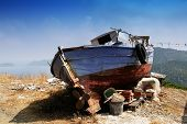 pic of wrecking  - boat wreck standing on the Greek island - JPG