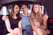 image of ladies night  - Pretty girls with ladies man in the limousine on a night out - JPG