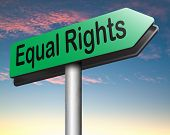 image of handicapped  - equal rights road sign no discrimination and same opportunities for all women man disabled black and white solidarity discrimination of people with disability or physical and mental handicap  - JPG