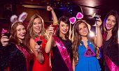 pic of hen party  - Pretty friends on a hen night at the nightclub - JPG