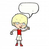picture of attitude boy  - cartoon boy with positive attitude with speech bubble - JPG