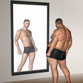 image of obese man  - Concept or conceptual 3D fat overweight vs slim fit with muscles young man on diet reflecting in a mirror - JPG