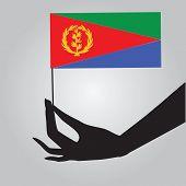 pic of eritrea  - Eritrea flag in a female hand - JPG