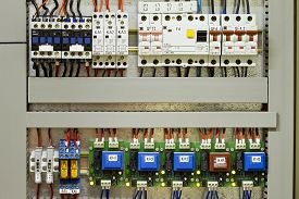 picture of contactor  - Industrial Electrical panel with fuses and contactors - JPG