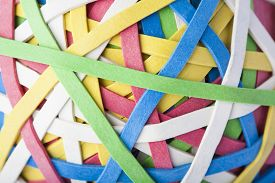 pic of rubber band  - Close Up Of Rubber Multi Colored Band Ball - JPG