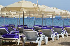 image of gumbet  - Mediterranean beach during hot summer day - JPG