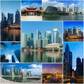 pic of storyboard  - Mosaic collage storyboard of Singapore tourist views travel images - JPG