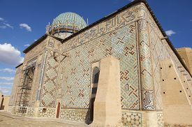 stock photo of sufi  - Exterior of the beautiful medieval mausoleum of the famous 12th century poet and sufi Khoja Ahmed Yasavi in Turkistan - JPG