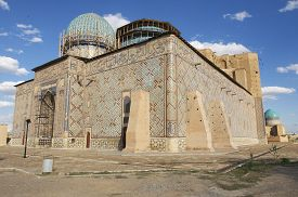 pic of sufi  - Exterior of the beautiful medieval mausoleum of the famous 12th century poet and sufi Khoja Ahmed Yasavi in Turkistan - JPG