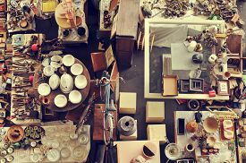 foto of stall  - aerial view of a stall in a flea market full of bits and pieces - JPG