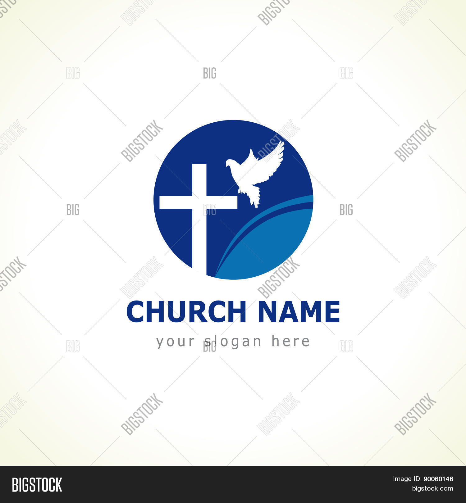 Christian church vector logo blue vector photo bigstock christian church vector logo blue colored circle crucifix white flying dove wave biocorpaavc