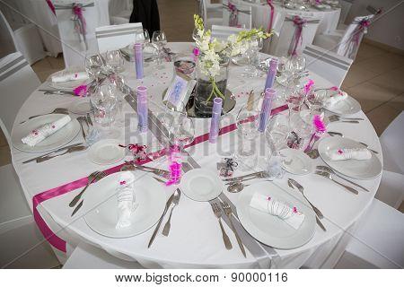 Interior Of A Wedding Banquet In Restaurant, Reception Venue Tables.