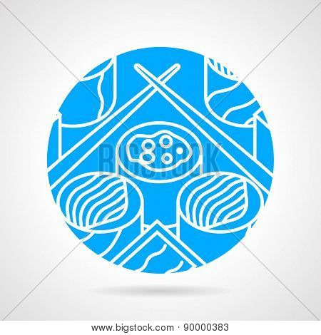 Japanese food round vector icon