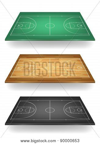 Set Of Basketball Courts In Different Colours. Isolated.