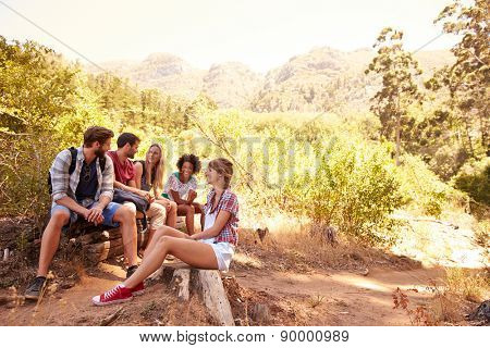 Group Of Friends Resting On Walk Through Countryside