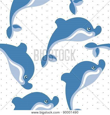 cartoon dolphins seamless background