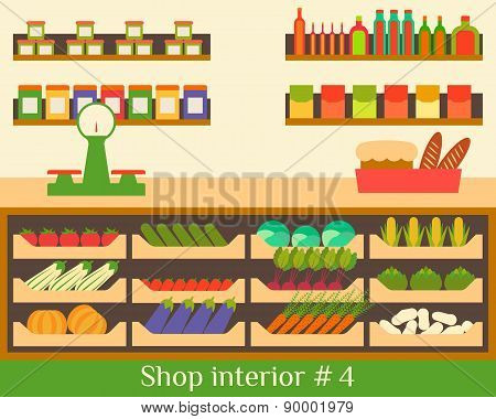 Vector illustration of a flat interior store food and beverages.