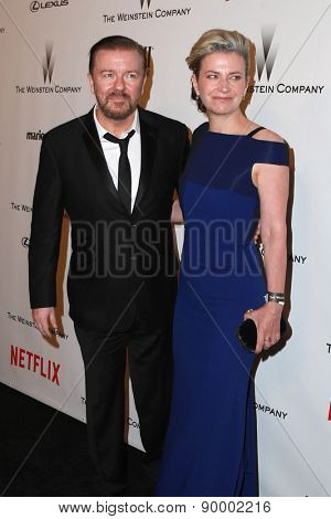 LOS ANGELES - JAN 11:  Ricky Gervais at the The Weinstein Company / Netflix Golden Globes After Party at a Beverly Hilton Adjacent on January 11, 2015 in Beverly Hills, CA