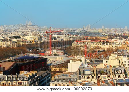 view of Paris city from Eiffel Tower, France