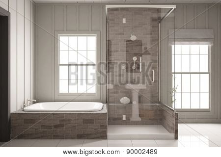Shower and bathtub in bright bathroom with two windows (3D Rendering)