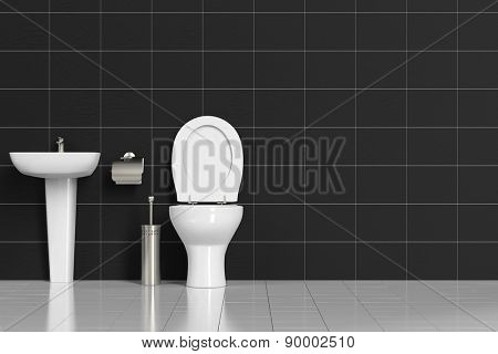 Clean bath with WC toilet and sink and black tiles (3D Rendering)