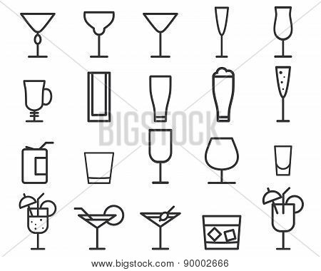 Beverage, drinks vector thin line symbol icon. Cocktails. Party outline elements isolated on white