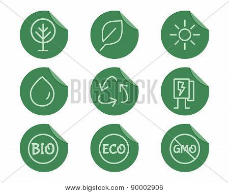 Green, Ecology and environmental protection outline icon set. Thin line design. Eco technologies.