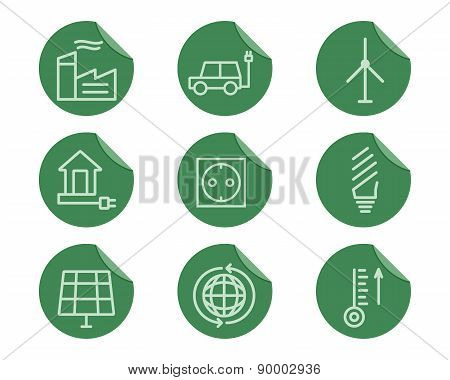 Ecological and environmental protection outline icon set. Thin line design. Eco green technologies.