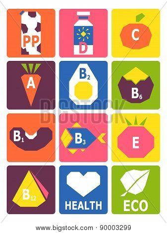 Retro Set Of Basic Vitamins From Food