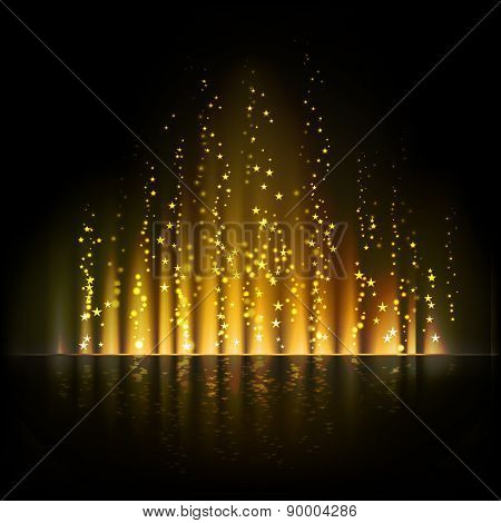 Gold aurora light. Abstract vector backgrounds