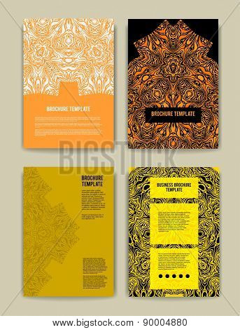 Set of brochure templates. Abstract ornamental backgrounds for design, leaflet, cards, invitation and so on.