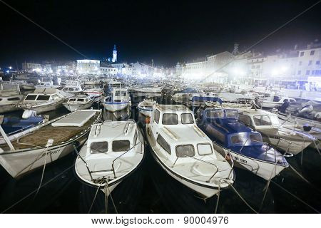 Marina In Rovinj At Night